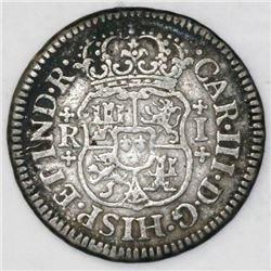 Mexico City, Mexico, pillar 1 real, Charles III, 1769M, broken o in mintmark.