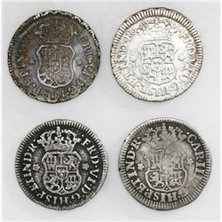 Lot of four Mexico City, Mexico, pillar 1/2R, various periods: 1748M, 1752M, 1758M and 1769M.