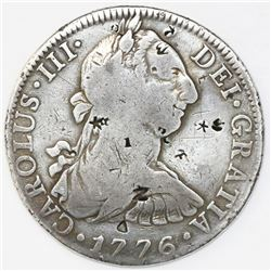 Mexico City, Mexico, bust 8 reales, Charles III, 1776FM, desirable date, with chopmarks as from circ