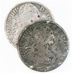 Lot of two Mexico City, Mexico, bust 8 reales, Charles IV, assayer FM, 1794 and 179(?), both with ch