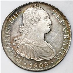 Mexico City, Mexico, bust 8 reales, Charles IV, 1803FT.