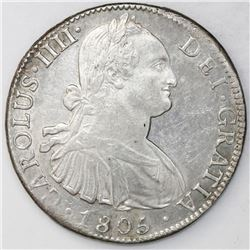 Mexico City, Mexico, bust 8 reales, Charles IV, 1805TH (wide date).