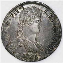 Durango, Mexico, bust 8 reales, Ferdinand VII, 1821CG.