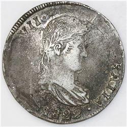 Durango, Mexico, bust 8 reales, Ferdinand VII, 1822CG.