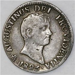 Mexico City, Mexico, 2 reales, 1823JM, Iturbide.