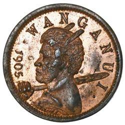 New Zealand, copper fourpence token, 1905, Wanganui Cosmopolitan Club.