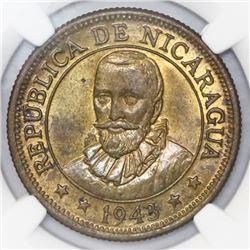 Nicaragua, brass 25 centavos, 1943, NGC MS 63.