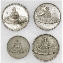 Lot of four Panamanian nickel casino tokens, early 1900s(?).