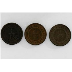 Lot of three Paraguay (struck at the Birmingham mint, England) copper 1/12 real, 1845.
