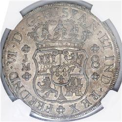 Lima, Peru, pillar 8 reales, Ferdinand VI, 1757JM, dot above left mintmark only, NGC AU details / ob