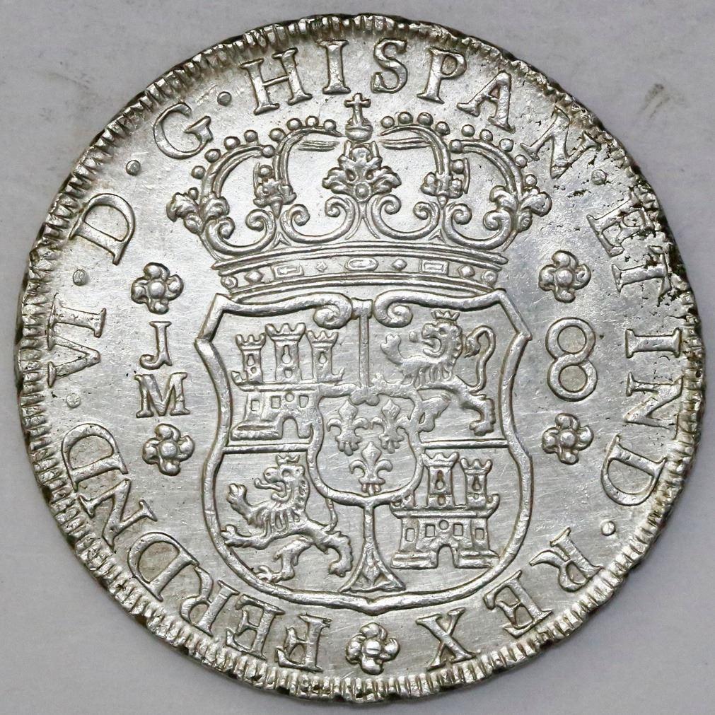 foto de Lima, Peru, pillar 8 reales, Ferdinand VI, 1757JM, dots over both ...