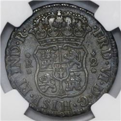 Lima, Peru, pillar 2 reales, Ferdinand VI, 1759JM, NGC VF 30.
