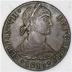 "Lima, Peru, bust 8 reales, Ferdinand VII transitional (""imaginary bust""), 1811JP."