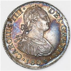 Lima, Peru, bust 2 reales, Charles IV, 1804JP.