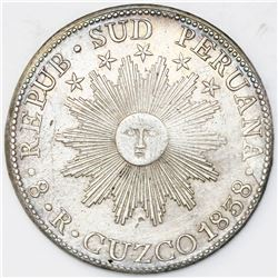 Cuzco, South Peru, 8 reales, 1838MS.