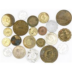 Puerto Rico, lot of 21 Puerto Rico hacienda tokens in various metals (1900s).