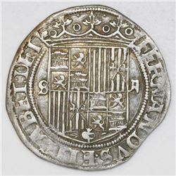 Seville, Spain, 2 reales, Ferdinand-Isabel, no assayer.