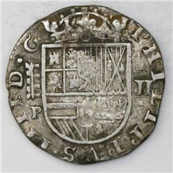 "Segovia, Spain, milled 2 reales ""pistareen,"" 1627P."