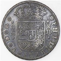 Madrid, Spain, milled 8 reales, Philip V, 1734JF.