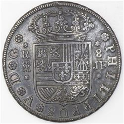 Madrid, Spain, milled 8 reales, Philip V, 1734JF.