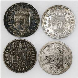 """Lot of four Spanish milled 2 reales """"pistareens"""" of Louis I and Philip V: Segovia, 1721F and 1724F;"""