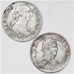 Lot of two Spanish bust 2 reales, Charles III and Ferdinand VII: Seville, 1779CF; Cadiz, 1811CI.