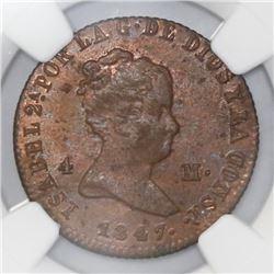 Jubia, Spain, bronze 4 maravedis, Isabel II, 1847-JA, NGC MS 63 RB.
