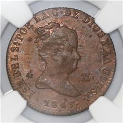 Jubia, Spain, bronze 4 maravedis, Isabel II, 1847-JA, NGC MS 63 RB.