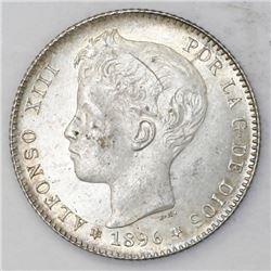 Madrid, Spain, 1 peseta, Alfonso XIII, 1896PG-V, with 18-96 inside six-point stars.