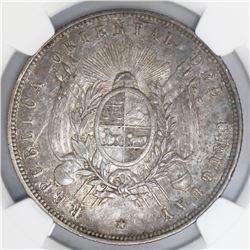 Uruguay (struck in Paris), 1 peso, 1877-A, NGC AU 53.
