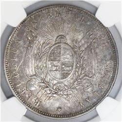 Uruguay (struck in Paris), 1 peso, 1877-A, NGC AU 53.