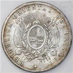 Uruguay, 1 peso, 1895, Paysandu issue struck over Brazil 2000 reis.
