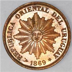 Uruguay (struck at the Heaton mint, England), copper 1 centesimo, 1869H, NGC MS 65 RB, ex-Heaton Min