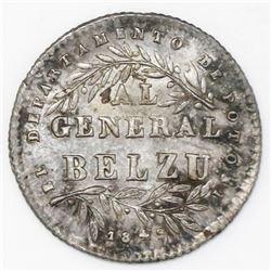 Potosi, Bolivia, 1 sol-sized silver proclamation medal, 1849, Belzu, ex-Cotoca.