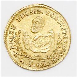 Potosi, Bolivia, 1/2 escudo-sized gold proclamation medal, 1854MY, Belzu, ex-Cotoca.