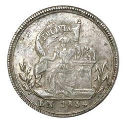 Potosi, Bolivia, 1 sol-sized silver proclamation medal, 1854, Belzu, ex-Cotoca.