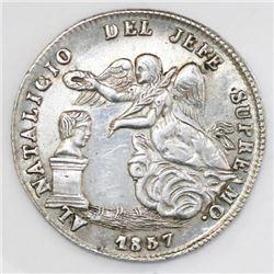 Potosi, Bolivia, 1 sol-sized silver proclamation medal, 1857, Cordova / Linares, ex-Cotoca.