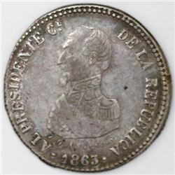 Cochabamba, Bolivia, peseta-sized silver proclamation medal, 1863, President Acha, ex-Cotoca.