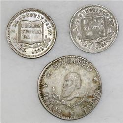 Lot of three Potosi, Bolivia, silver proclamation medals, 1866-68, ex-Cotoca: 1/4 melgarejo; 1/8 mel