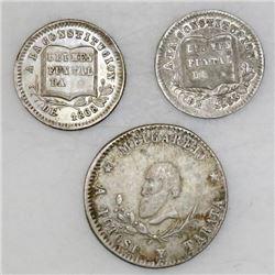 Lot of three Potosi, Bolivia, silver proclamation medals, 1866-68, ex-Cotoca: 1/4 melgarejo; 1/8 mel