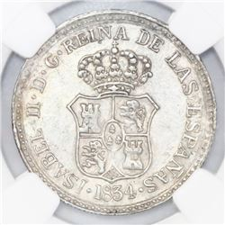 Guanabacoa, Cuba, silver proclamation medal, Isabel II, 1834, NGC AU 58.