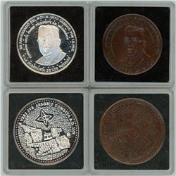 "Lot of four Cuba ""historical society"" medals dated 1999: two silver, two bronze."