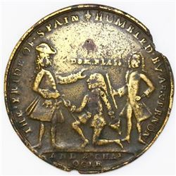 Great Britain, copper-alloy medal, Admiral Vernon, 1741, Cartagena / Ogle / Lezo.