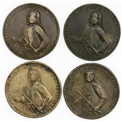 Lot of four Great Britain copper-alloy medals of Admiral Vernon, 1739, Porto Bello (Vernon's portrai