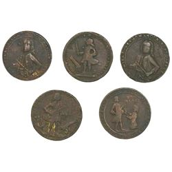 Lot of five Great Britain copper-alloy small-size medals of Admiral Vernon, 1739, Porto Bello (vario