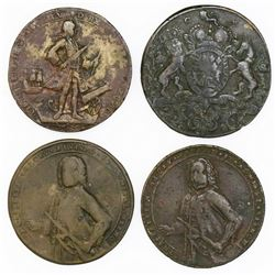 Lot of four Great Britain copper-alloy medals of Admiral Vernon, 1739, Porto Bello (various types).