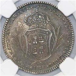 Campeche, Mexico, 2 reales-sized silver proclamation medal, Charles IV, 1790, NGC AU 50, finest and