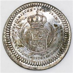 Campeche, Mexico, 1 real-sized silver proclamation medal, Charles IV, 1790.