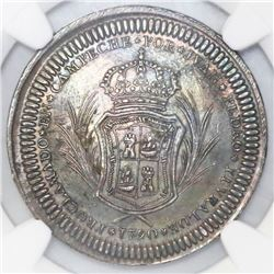 Mexico, 4 reales-sized silver proclamation medal, Charles IV, 1790, Campeche Proclamation, NGC AU 58