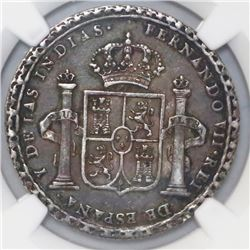 Mexico, 2 reales-sized silver proclamation medal, Ferdinand VII, 1808, Oaxaca Proclamation, NGC AU 5